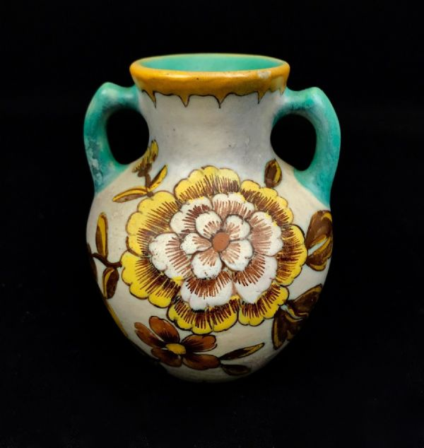 Gouda Pottery Jug / Vase Cream / 1950's Dutch / Yellow / Turquoise / Dutch